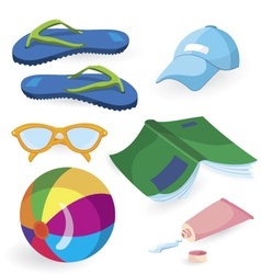 Beach fun items vector