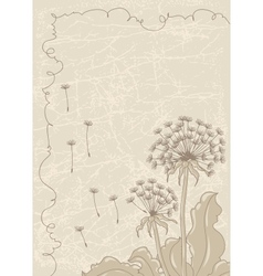 Vintage background with dandelions vector