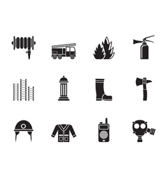 Silhouette fire-brigade and fireman equipment icon vector