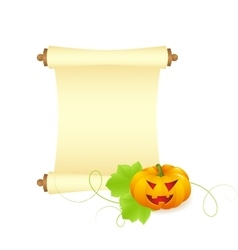 Pumpkin with blank sheet of paper vector