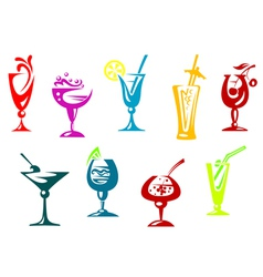 Alcohol and juice cocktails vector