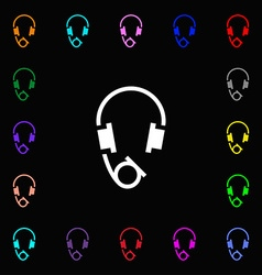 Headsets icon sign lots of colorful symbols for vector