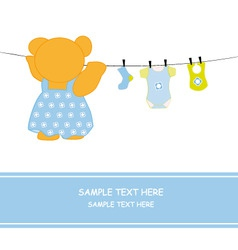 Bear hanging clothes blue vector