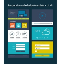 One page website design template vector