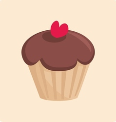 Sweet chocolate cake with red heart vector