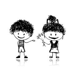 Boy and girl sketch vector