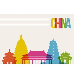 Travel china destination landmarks skyline vector