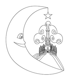 Medieval castle and smiling moon - hand drawing vector