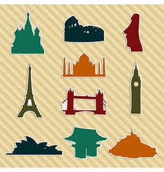 World landmark silhouettes set vector