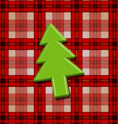 Green fir tree over checkered background vector