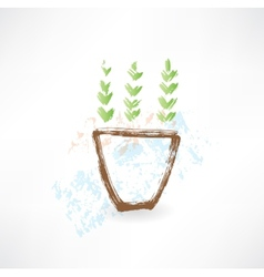 Potted plant grunge icon vector