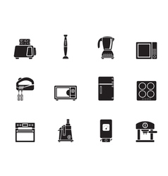 Silhouette kitchen and home equipment icons vector