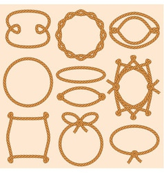 Set of marine rope frames vector