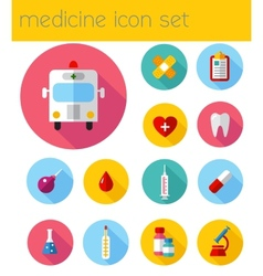 Flat health care and medical research icon set vector