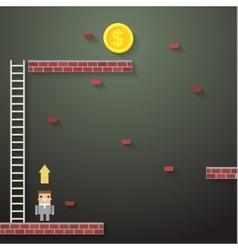 Businessmen climbing the ladder on dark vector