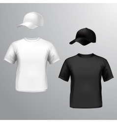 Mens t-shirt baseball cap vector