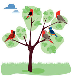 Tree-with-diferents-birds vector
