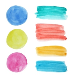 Collection of watercolor circular spots and vector