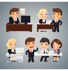 Businessmen at the table teamwork vector