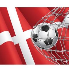 Soccer goal and denmark flag vector