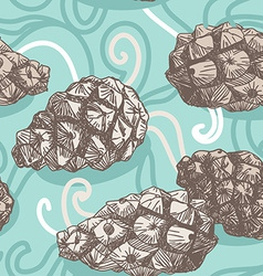 Seamless pattern with pine cones and frosty vector