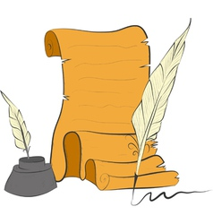 Roll of old paper and feather- vector
