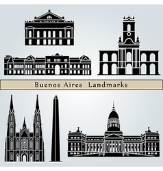 Buenos aires landmarks and monuments vector