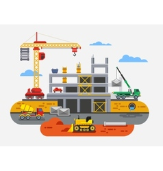 Building construction flat design concept vector