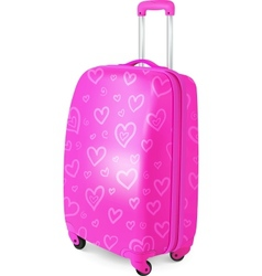 Pink glamour travelers suitcase vector