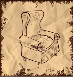 Leather armchair on vintage background vector