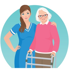 Elderly patient and a nurse vector