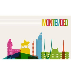 Travel montevideo destination landmarks skyline vector