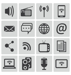 Black media icons set vector