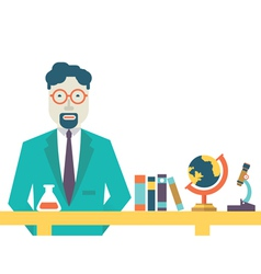 Flat teacher and study schools objects for study vector