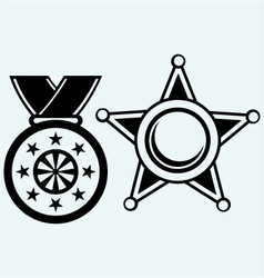 Sheriff badge and medal with ribbon vector