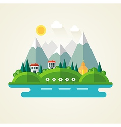 Nature landscape flat icon vector