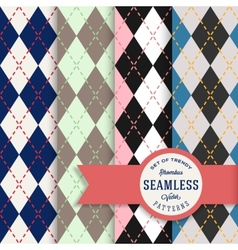 English rhombus seamless pattern set vector