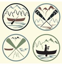 Canoe camp vintage labels set vector