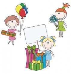 Cheerful girls make happy bir vector