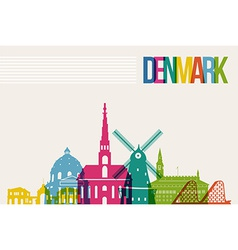 Travel denmark destination landmarks skyline vector