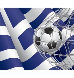 Soccer goal and greece flag vector