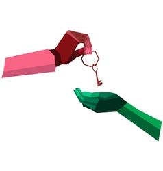 Hand give key polygon vector