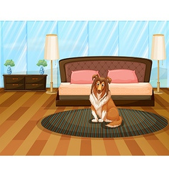 Dog in bedroom vector