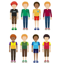 Faceless male teenagers vector