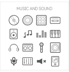 Set of simple icons with musical objects vector