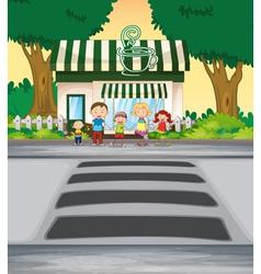 Family outside coffee shop vector