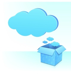Big blue cloud from box with rainy pattern vector