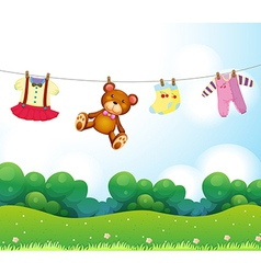 Baby things hanging vector