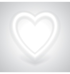 Glowing white heart with shadow vector