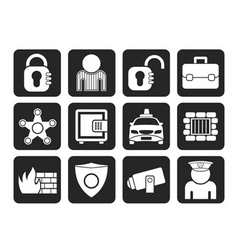 Silhouette social security and police icons vector